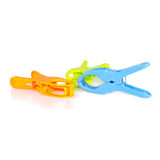 Closeup image of little colorful office clothespins isolated Stock Photography