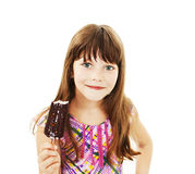 Closeup image of a little girl with ice cream. Isolated on white background stock photography