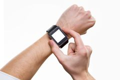 Closeup image of male hand with smart watch with blank screen. Isolated at white Stock Photo