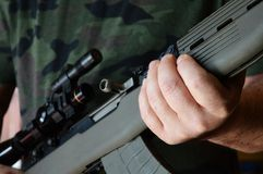 Ready For Combat. Closeup image of a military man ready for combat Royalty Free Stock Photos
