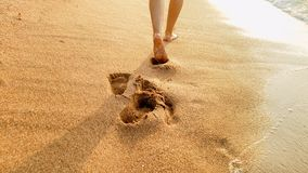 Free Closeup Image Of Sexy Barefoot Female Feet Walking On The Wet Sand And Calm Warm Waves At Sea Beach Stock Photo - 148522090