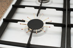 Closeup image ofa gas stove, problem, there is no gas Royalty Free Stock Images