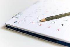 Closeup image of pencil on the calendar. royalty free stock photo