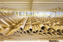Closeup image of pleat cardboard row at factory background royalty free stock images