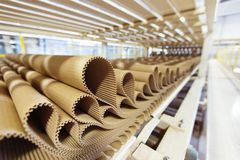 Closeup image of pleat cardboard row at factory background stock images