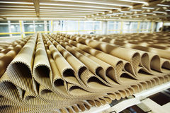 Closeup image of pleat cardboard row at factory background Stock Image