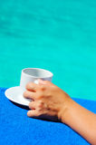 Closeup image of real attractive female beauty holding cup of co Stock Photography