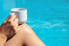 Closeup image of real attractive female beauty holding cup of co Royalty Free Stock Photography