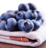 Closeup Image of Blueberries on the Fabric Serviette Stock Photography