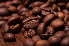 Closeup image of roasted coffee grains Royalty Free Stock Photos
