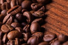 Closeup image of roasted coffee grains Stock Photo