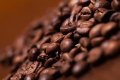 Closeup image of roasted coffee grains Royalty Free Stock Images