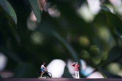 Small photographer and bicycle rider model figures on wooden floor with blur green nature background. Closeup image of small photographer and bicycle rider model royalty free stock photos