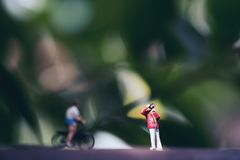 Small photographer and bicycle rider model figures on wooden floor with blur green nature background. Closeup image of small photographer and bicycle rider model stock photo