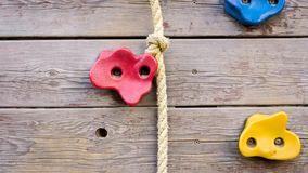 Closeup photo of special wall for climbing on playground stock photography