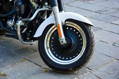 Close up fromt tire of motorcycle royalty free stock photography