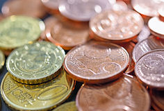Closeup image of used euro coins Stock Photography