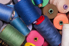 Closeup image of various colour threads Royalty Free Stock Images