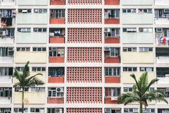 The vintage pastel colors residential in Hong Kong royalty free stock image