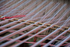 Closeup image of weaving Loom, details. Royalty Free Stock Image