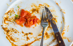 Closeup image of white dirty dish with tomato Royalty Free Stock Photography