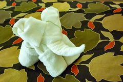 Close up white towel elephant in hotel Stock Photography