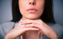 Closeup image of woman lips Royalty Free Stock Images