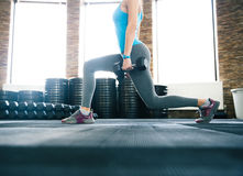 Closeup image of a woman working out with dumbbells Stock Photos