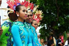 Closeup images of various faces in diverse costumes of street dancer in annual corn festival. Tiaong, Quezon, Philippines - June 22, 2016: Closeup images of Royalty Free Stock Photography