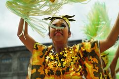 Closeup images of various faces in diverse costumes of street dancer. Tiaong, Quezon, Philippines - June 22, 2016: Closeup images of various faces in diverse Royalty Free Stock Photos