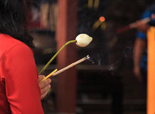 Closeup incense candle and lotus of people Stock Images