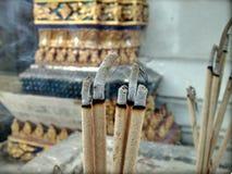 Closeup Incense Candle Sticks Burning Stock Photos