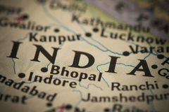 India on map. Closeup of India on a world map stock images