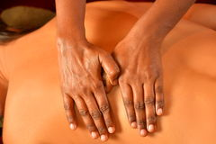 Closeup indian massage. Indian ayurveda massage with oil Royalty Free Stock Photo