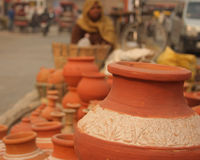 Closeup of Indian pottery Earthenware Royalty Free Stock Photo