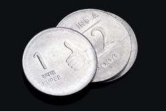 Closeup of Indian Rupee Coins Royalty Free Stock Images