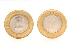 Closeup of Indian ten rupee coin both sides Royalty Free Stock Image