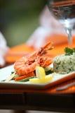 Closeup of indonesian food plate Stock Photos