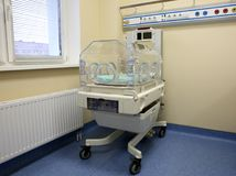 Closeup of infant incubator technology Royalty Free Stock Photography