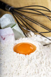 Closeup of  ingredients for baking,egg,flour and jelly Royalty Free Stock Photography