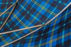 Closeup inside blue and yellow line umbrella Royalty Free Stock Photos