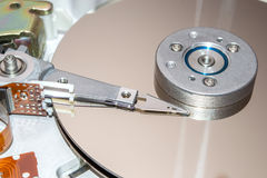 Closeup of inside of a hard disk drive. HDD. Royalty Free Stock Photo
