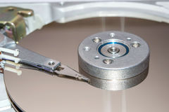 Closeup of inside of a hard disk drive HDD Stock Photography
