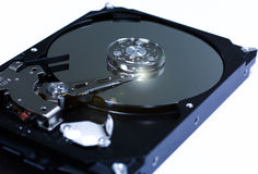 Closeup the inside hard drives Royalty Free Stock Photography