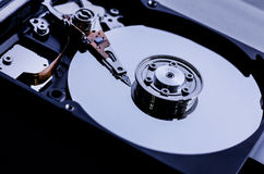 Closeup the inside harddrives Royalty Free Stock Images