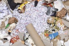 Inside of a paper recycling container. Closeup of a inside of a paper recycling container Royalty Free Stock Photo