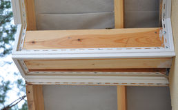 Closeup on Install or Roofing Repair Soffit Board and Fascia Board. Royalty Free Stock Images