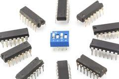 Closeup integrated circuit Royalty Free Stock Photos
