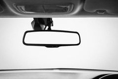 Closeup interior modern car console with full windscreen show sp Stock Photography