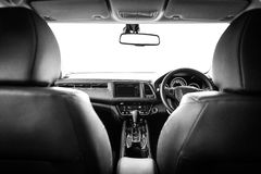 Closeup interior modern car console with full windscreen show sp Stock Photo
